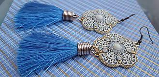 Náušnice - svieže svetlomodré náušnice so strapcom - 9921420_