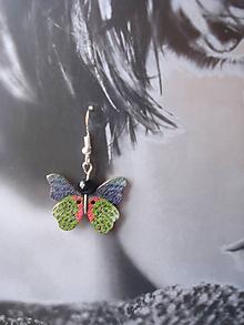 Náušnice - Náušnice -motýlik zelený tigrovitý - 9918656_