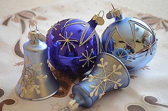 Dekorácie - Modrá sada s  vločkami - 9920949_