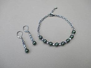 Sady šperkov - Zeleno strieborná sada šperkov - chirurgická oceľ - 9919750_