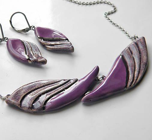 Sada šperkov z keramiky - fialová