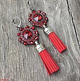 Náušnice - Ohnivé červené Swarovski náušnice so strapčekom - 9920327_