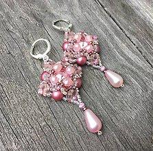 Náušnice - Žiarivé ružové Swarovski náušnice - 9920315_