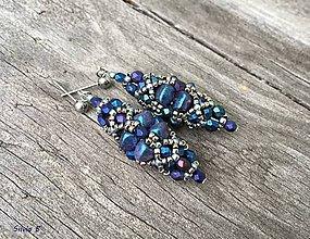 Náušnice - Luxusné modro-fialové náušnice