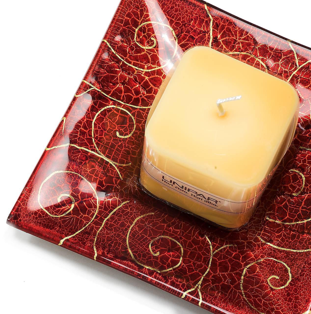 Svietidlá a sviečky - Sklenený svietnik so sviečkou červený JUNE 03 - dekor zlaté špirály - 9921387_