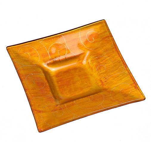 Sklenený svietnik DUNE jantárový- dekor zlaté špirály