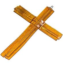 Dekorácie - Sklenený kríž na stenu JANTAR vrstvený - 9918284_