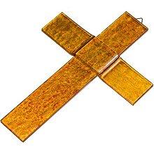 Dekorácie - Sklenený kríž na stenu JANTAR 0921 - 9918291_