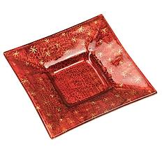 Svietidlá a sviečky - Sklenený svietnik červený- dekor zlaté hviezdičky - 9921261_