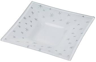 Svietidlá a sviečky - Vianočný sklenený svietnik biely- dekor strieborné hviezdičky - 9921276_