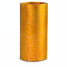 Dekorácie - Sklenená váza DUNE jantárova 03- dekor zlaté špirály - 9921529_
