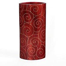 Dekorácie - Sklenená váza červená JUNE 03- dekor zlaté špirály - 9921576_