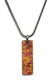 Náhrdelníky - Brúsený sklenený šperk jantárový prívesok- obdĺžnik PRV0810 - 9921873_