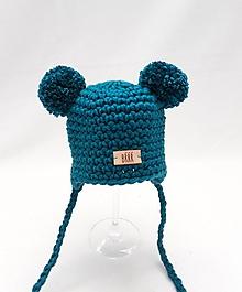 Detské čiapky - Oceánovo tyrkysová detská zimná čiapka ušianka macko. - 9919883_