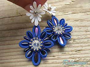 Náušnice - Flowers - Sapphire...soutache - 9923630_