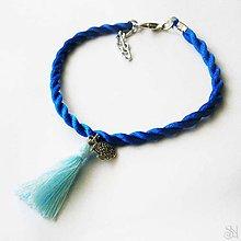 Náramky - Modrý strapcový náramok s rybičkou - 9924975_