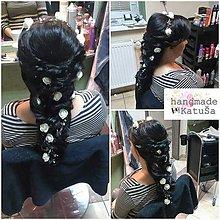 Ozdoby do vlasov - dlhá kvetová ozdoba do vlasov (Biela) - 9923152_