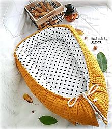 Textil - Hniezdo pre bábätko z vafle bavlny v horčicovej farbe - 9925435_