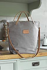 - Veľká elegantná kabelka zo šedého ľanu s koženými remienkami - nový dizajn (zapínanie na mag.gombík s koženým popruhom 85x2,5cm (obr.)) - 9922633_