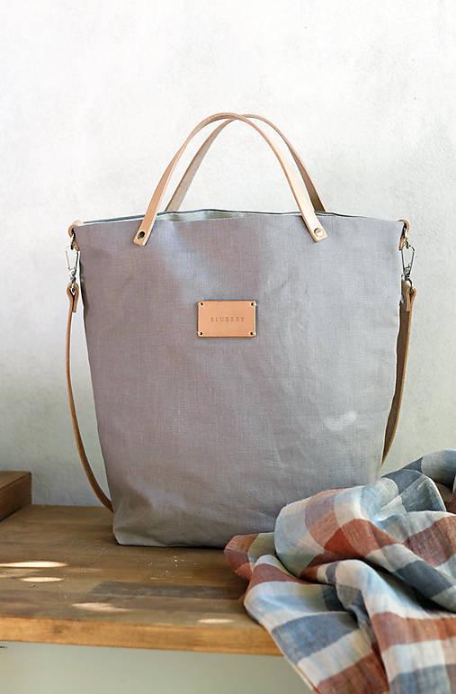 Veľká elegantná kabelka zo šedého ľanu s koženými remienkami - nový dizajn
