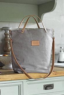 Kabelky - Veľká elegantná kabelka zo šedého ľanu s koženými remienkami - nový dizajn - 9922633_