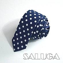 Doplnky - Pánska slim kravata - bodkovaná - modrá - tmavomodrá na guľky - 9925120_