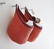 Košíky - Pletený košík s uškom - tehlová - 9922156_