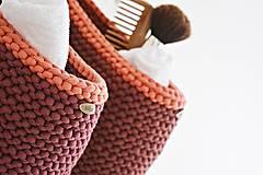 Košíky - Pletený košík s uškom - tmavá tehlová - 9922165_