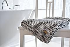 Úžitkový textil - Pletený koberček/predložka - sivá - 9922179_