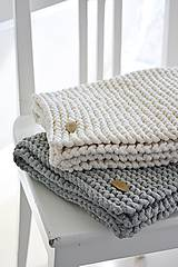 Úžitkový textil - Pletený koberček/predložka - sivá - 9922192_