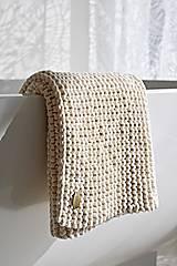 Úžitkový textil - Pletený koberček/predložka - prírodná - 9922214_