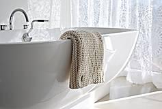 Úžitkový textil - Pletený koberček/predložka - prírodná - 9922215_