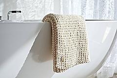 Úžitkový textil - Pletený koberček/predložka - prírodná - 9922216_