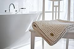 Úžitkový textil - Pletený koberček/predložka - prírodná - 9922218_
