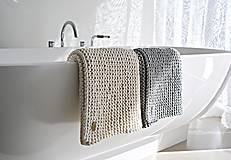 Úžitkový textil - Pletený koberček/predložka - prírodná - 9922223_