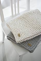 Úžitkový textil - Pletený koberček/predložka - prírodná - 9922228_