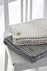 Úžitkový textil - Pletený koberček/predložka - prírodná - 9922229_