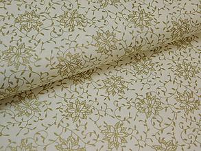 Textil - Vianočná látka - zlaté kvety - 9922970_