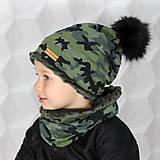 Detské čiapky - Hrejivý set - kamufláž - 9925793_