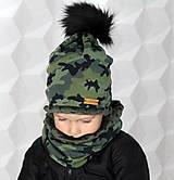 Detské čiapky - Hrejivý set - kamufláž - 9925794_