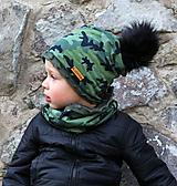 Detské čiapky - Hrejivý set - kamufláž - 9925797_
