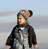 Detské čiapky - Hrejivý set frajer macko - zelená vojenská - 9925798_