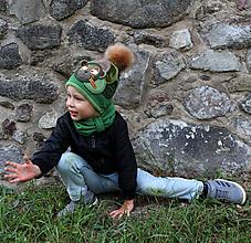 Detské čiapky - Hrejivý set s mackom - 9925820_