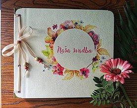 Papiernictvo - Fotoalbum klasický, papierový obal so štruktúrou plátna a voliteľnou potlačou na prednej strane  a nápisom ,,Naša svadba,, (Fotoalbum klasický, papierový obal so štruktúrou plátna a potlačou ,,Naša svadba 3,,) - 9923995_