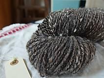 Materiál ručne robený - Hnedá tvídová trojnitka, 162g - 9923216_