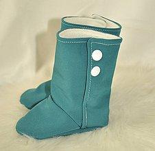Detské topánky - VÝPREDAJ - Softshellové tmavozelené čižmičky Novorodenecké - 9925675_