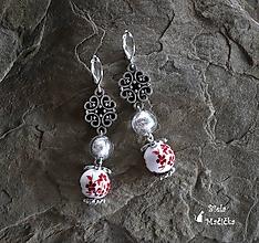 Náušnice - Keramické náušnice, červená, ornament, striebro - 9925420_