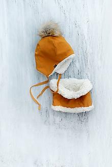 Detské súpravy - Zimný set horčica & fleece cream - 9922522_