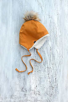 Detské čiapky - Zimná čiapka horčica & fleece cream - 9925773_