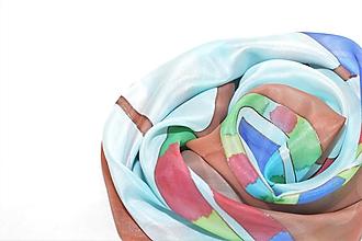 Šatky - Maľovaná hodvábna šatka - okno. Inšpirovaná Hundertwasserom. - 9928207_